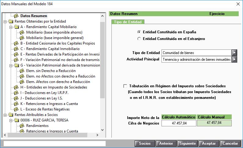 Modelo 184 Datos manuales