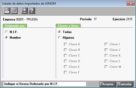 Ordenar listado perceptores por NIF o nombre