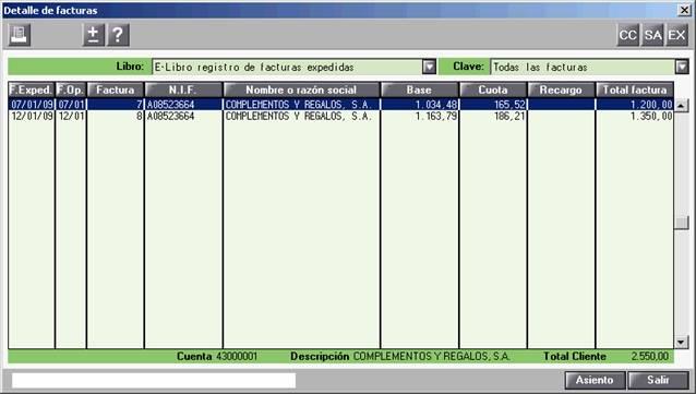 Detalle de facturas del modelo 340