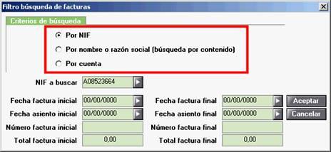 Criterios de Búsqueda del filtro de búsqueda de facturas