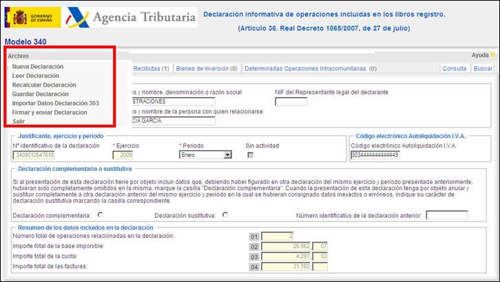 Menú Archivo en la página Web de la Agencia Tributaria