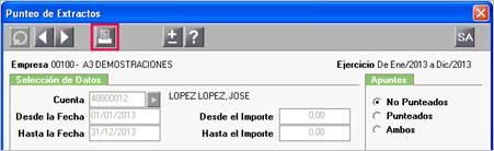 Listado de Cuentas Corrientes desde el Punteo de Extractos