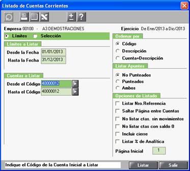 Listado de Cuentas Corrientes