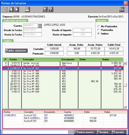 Visualización del asiento contable en el Punteo de Extractos