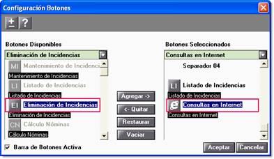 configuracion botones