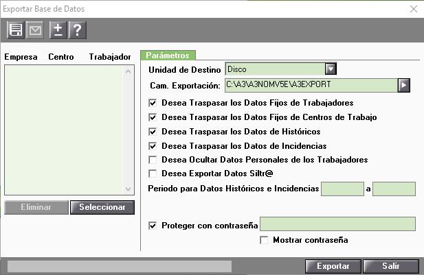 exportacion datos