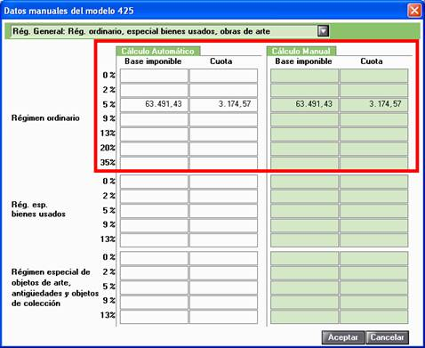 Datos manuales del Modelo