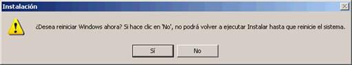 Mensaje reinicio Windows