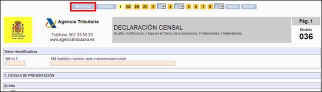 Botón IMPORTAR en la Página Web de la Agencia Tributaria