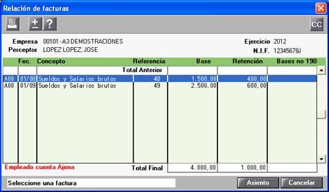Relación facturas 190