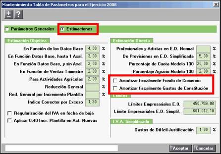 Mantenimiento Tabla de Parámetros para el Ejercicio
