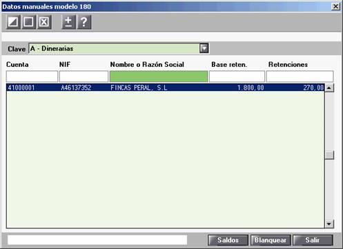 Datos manuales modelo 180