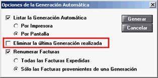 Opciones de la Generación Automática