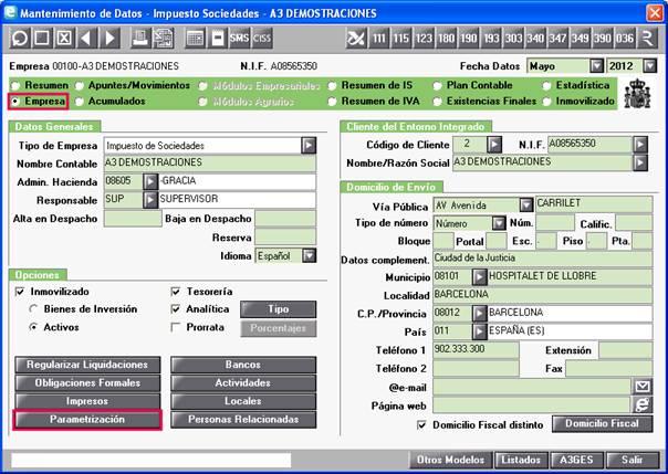 Parametrización en el Mantenimiento de Empresa