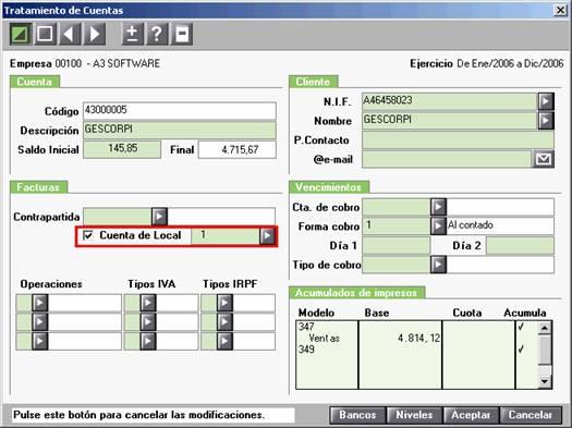 Cuenta de Local en el Tratamiento de Cuentas
