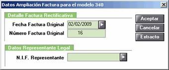 Datos Ampliación Factura para el modelo 340