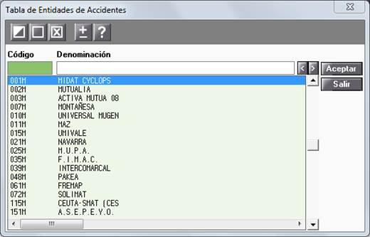 tabla entidades accidentes
