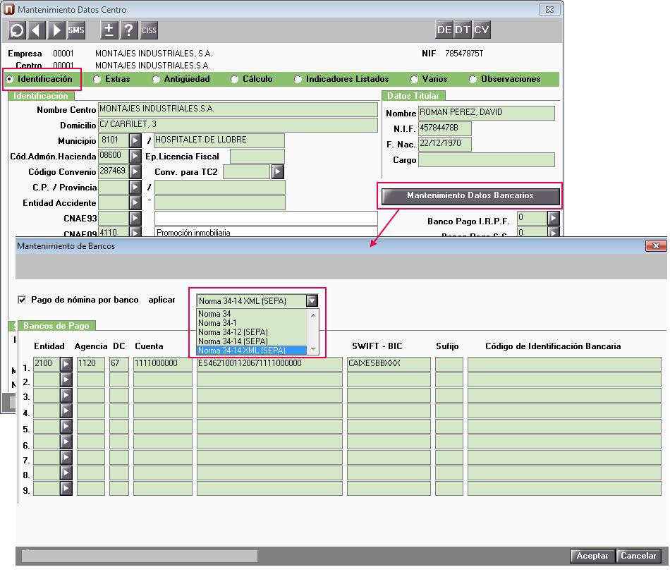 mantenimiento datos bancarios centro trabajo