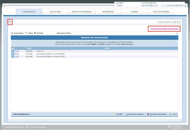 Aplicación de búsqueda estándar en área cliente