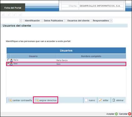 Asignación de derechos sobre tipos de solicitud a usuarios de tipo cliente