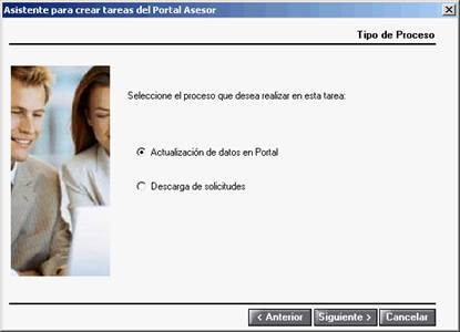 Asistente para crear tareas del Portal Asesor - Tipo de Proceso