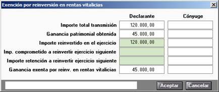Exención por reinversión en rentas vitalicias