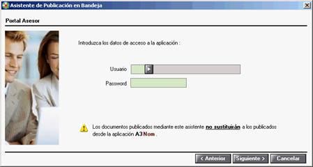 Asistente, usuario y password