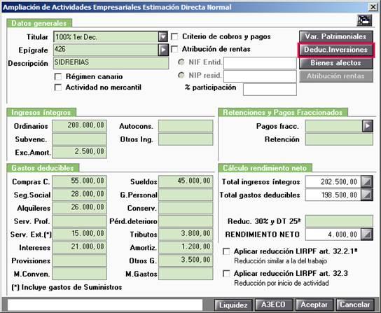 Ampliación de Actividades Empresariales Estiamción Directa Normal