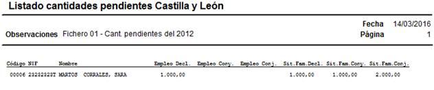 Listado de cantidades pendientes Castilla y León