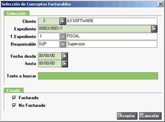 Selección conceptos facturables
