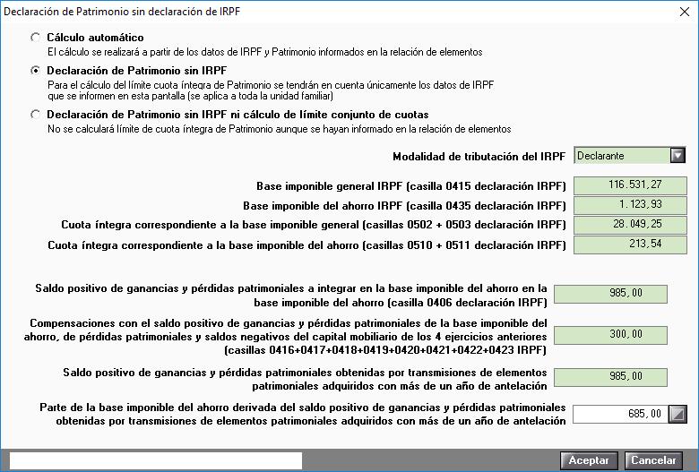 Declaracion de Patrimonio sin declaracion de IRPF