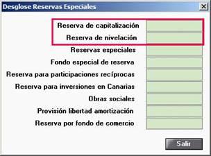 Desglose Reservas Especiales