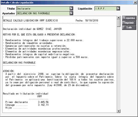 Detalle de Cálculo Liquidación