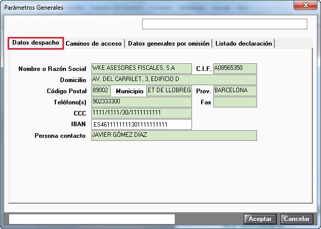 Parámetros Generales Datos Despacho