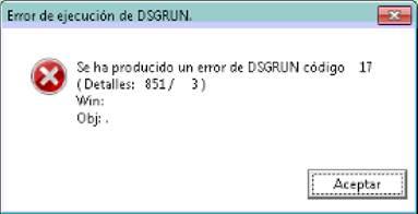 Error dsgrun 17 codigo 851